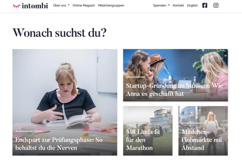 Screenshot: Wonach suchst du? Bilder und Titel verschiedener Artikel.